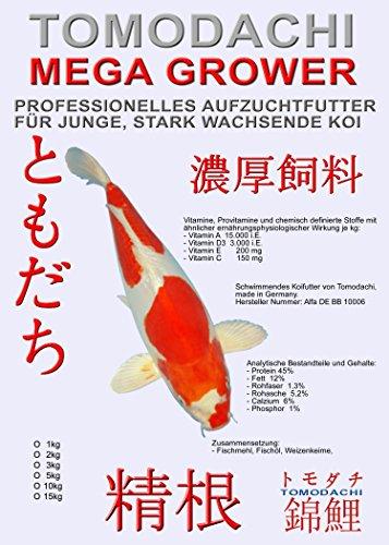 Koifutter, Wachstumsfutter für Koi Tomodachi Mega Grower, Aufzuchtfutter Tosai für Mega Wachstum, 2kg, 2mm Koipellets