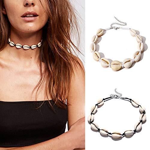 Shager - Collar Gargantilla de Clavícula, Diseño de Concha de Bohemio,Hecho a Mano, Ajustable