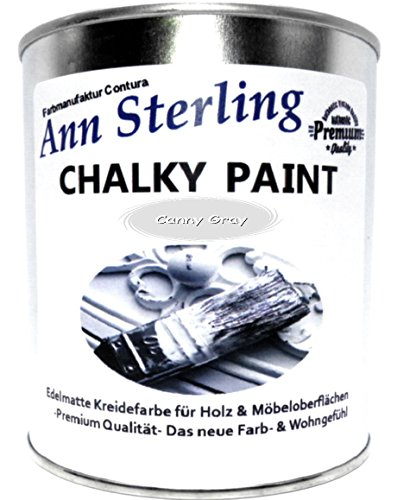 Ann Sterling Kreidefarbe Shabby Chic Farbe: Canny Grey / Grau 1Kg. / 750ml. Lack Chalky Paint