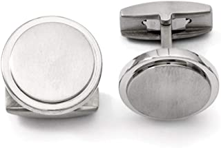 Lex /& Lu Edward Mirell Black Ti Faceted Edges Polished Cuff Links-Prime