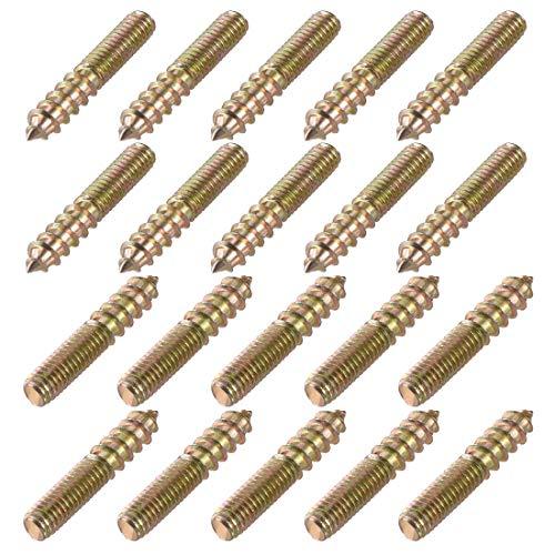 sourcing map 20 Stück Stockschrauben Doppelgewindeschrauben Gewindestifte für Möbel M6x35mm