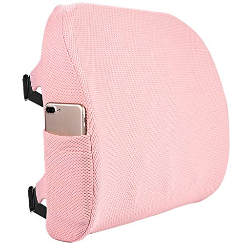 Fyore Lumbar Pillow Memory Foam Back Support Cushion with Anti-Slip Particles Designed for Lower Back Pain Relief Back Pillow 2 Adjustable Straps for Computer/Office Chair,Car Seat,Recliner(Pink)