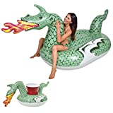 GoFloats Giant Inflatable Fire Dragon | Includes Bonus Fire Dragon Drink Float | New for 2018