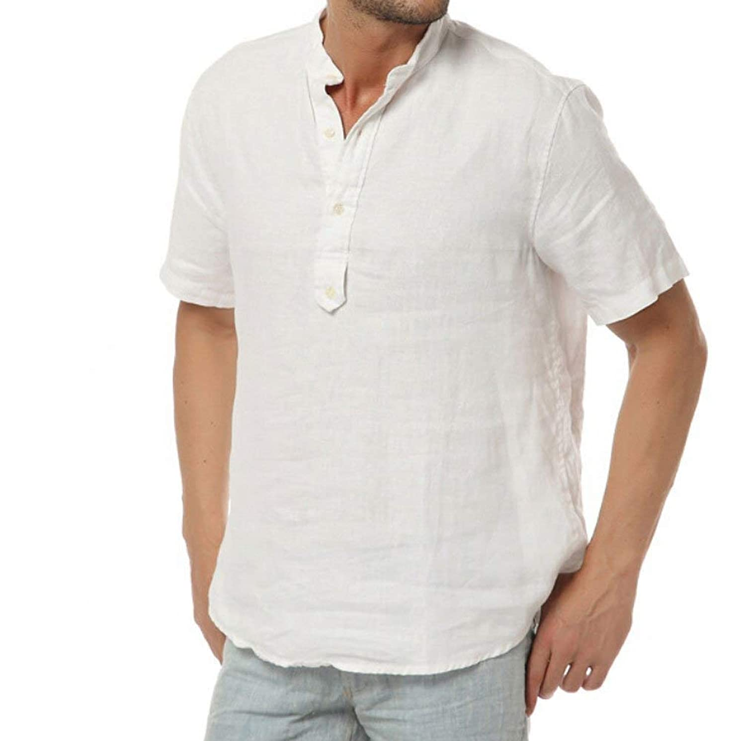 Beotyshow Mens Basic Short Sleeve Henley Shirts Cotton Linen Five-Button Fly Collarless Pullover Shirts for Men