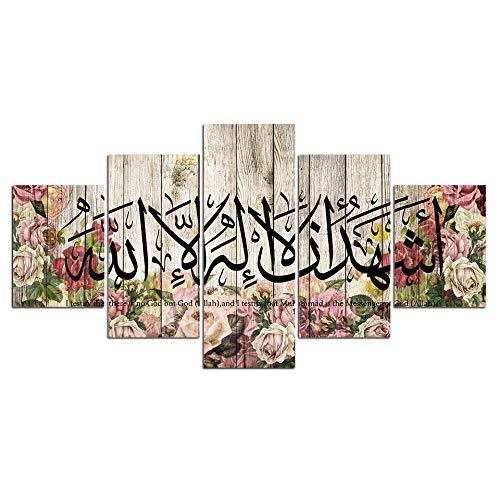 ZDFDC Vintage islámico Lema Pared Arte Imagen Lienzo Pintura árabe Cuadros para Pared hogar decoración 5 paneles-40x60 40x80 40x100cm sin Marco