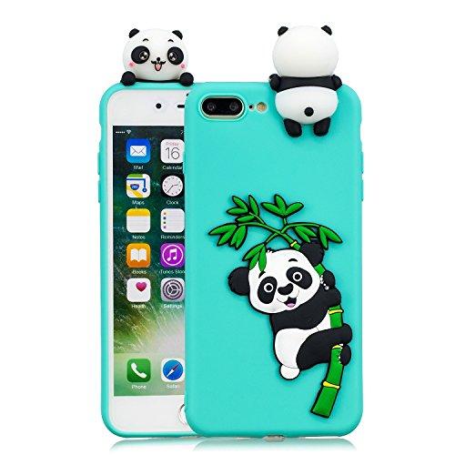Leton Cover iPhone 8 Plus Silicone Panda 3D Morbido TPU Gel Custodia iPhone 7 Plus Antiurto Ultra Sottile Flessibile Gomma Case Protettiva Bumper Candy Copertura 3D Papa Panda Verde