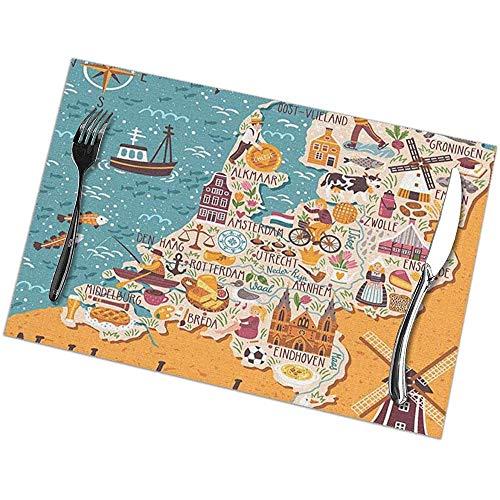 Winter-Zuid Placemats Set van 6 Place Mats Placemats Kaart van Nederlandse Landmarks Mensen Traditioneel Holland Voedsel