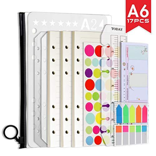 A6 Nachfüllbare Notizpapier Set, 3 Packe A6 Nachfüllpapier A5 Liniert 135 Blätter / 270 Seiten|460 Stücke Haftnotizen Bunt