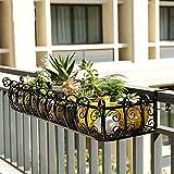 Feixunfan - Macetero de metal para decoración de macetas de hierro forjado, para casa, oficina, metal, negro, 80*29*16cm