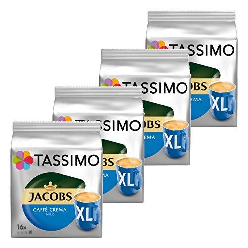 Tassimo Jacobs Caffè Crema mild XL, Kaffee Kapsel, Kaffeekapsel, gemahlener Röstkaffee, 4x16 (64) T-Discs