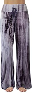 iChunhua Wide Leg Lounge Pants for Women Loose Fit Casual Tie-dye Pajamas Pant with Drawstring, Tie-dyed Purple, XX-Large