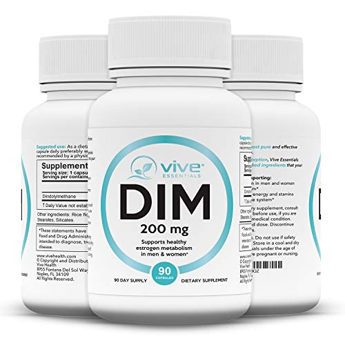 Vive Essentials DIM Supplement 200 mg (90 Capsules) - Diindolylmethane Pills for Women, Men - Extra Strength Vitamin Vegan Powder Body Building Formula