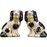 OR Staffordshire Reproduction Pair of Black Dog Figurines W/Flowers in Mouth