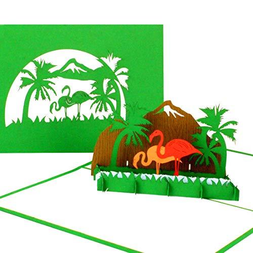 """Pop Up Karte """"Flamingos"""" - 3D Grußkarte, Glückwunschkarte, Geburtstagskarte, Reisegutschein Florida, Sardinien, Geschenkgutschein, Flamingo Karte zum Geburtstag"""
