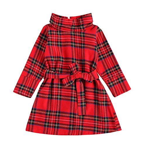 Toddler Baby Girl Christmas Dress Plaid Long Sleeve Belted Dress Infant Princess Checked Party Casual Fall Outfits (red Check- Belt,4-5T)