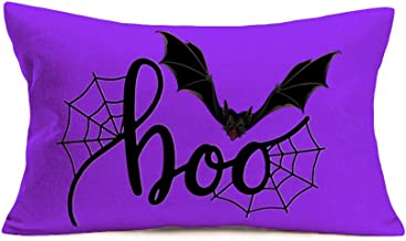 Aremetop Happy Halloween Pillow Covers 12x20 Inch Fall Halloween Spooky Bat Boo Saying Farmhouse Decor Cuhsion Cover Fall ...