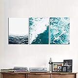 AOLI Cuadro en lienzo Pintura Ocean Set de 3 para la sala de estar en el hogar Dormitorio Decoración de la pared Pintura Estilo moderno simple Pintura tríptico, sin marco, 60X80Cmx3Pcs,Sin marco,60 *