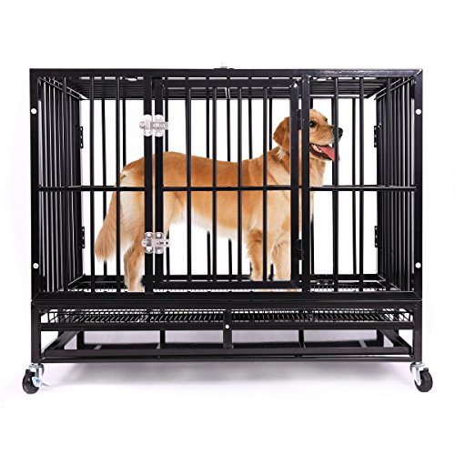 Haige Pet 36'' Heavy Duty Dog Crate, Medium Metal...