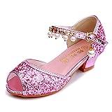 YOSICIL Niña Bailarina Sandalias Zapatos de Tango Latino con Perla Rhinestone para Niños Zapatos de Tacón de Princesa de Lentejuelas Zapatillas de Fiesta para Cumpleaños