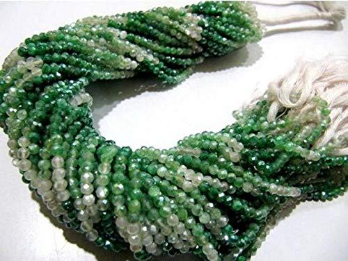 Shree_Narayani 2 hebras verde natural sombreado piedra lunar plata AB místico recubierto Rondelle cuentas facetadas 3mm hebra 13 pulgadas granos largos al por mayor piedra natal
