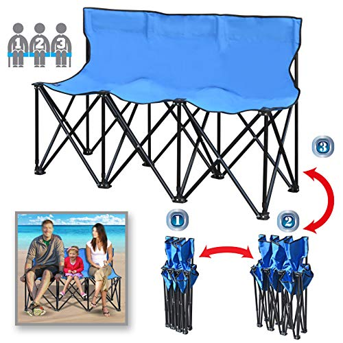 BenefitUSA Portable Sports Bench Sits 3/4/6 Seater Folding Team Sideline Bench Camping Bleacher Chair with Back and Carry Bag (3 Seater, Blue)