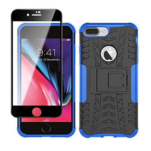 Yiakeng Funda Apple iPhone 7 Plus / 8 Plus Carcasa y Vidrio Templado Protector Pantalla, Silicona a Prueba de Choques Protector con Kickstand para Apple iPhone 7 Plus / 8 Plus (Azul)