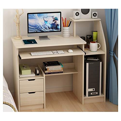 Escritorio de computadora para oficina en casa, mesa de escritura de estudio para niños eficiente de 39.5 '', escritorio de oficina de estilo moderno y simple con 2 cajones y 1 puerta de gabinete abie