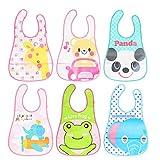 AirSMall 6stk Baby Lätzchen Set Kinderlätzchen Abwaschbar Latz Wasserdicht Kinder Bibs mit Klettverschluss und 6 süßen Tier Motiven für Kleinkinder 6 zu 36 Monaten Jungen Mädchen
