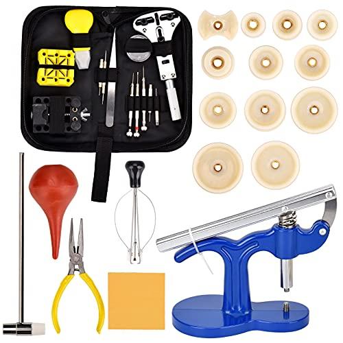 Queta Juego de herramientas de reloj/18 piezas para reparación de relojes/herramientas profesionales de relojero/herramientas de reparación para la mayoría de relojes/con funda de nailon negra