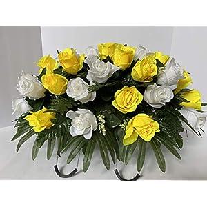 yellow roses~cemetery arrangement~graveside decorations~headstone saddle~saddle arrangement~sympathy flowers~grave decor~cemetery flower service subscription available silk flower arrangements