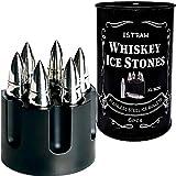 Metal Whiskey Stones Gift Set for Men - Bullet Whiskey Stone - Whiskey Bullets Gift Set - Bullet Ice Cube For Whiskey Chillers 6pcs in Revolver Base - Whisky Ice Rocks Cool Stones Whiskey Gift Box Set