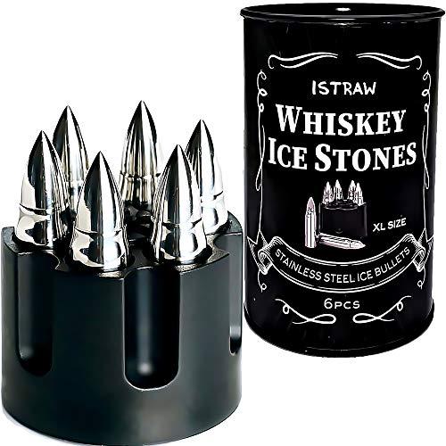 Metal Whiskey Stones Gift Set for Men - Bullet Whiskey Stone - Whiskey Bullets Gifts - Bullet Ice Cube For Whiskey Chillers 6pcs in Revolver Base - Whisky Ice Rocks Cool Stones Whiskey Gift Box Set