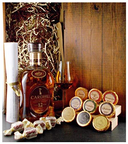 Geschenk Cardhu 12 Jahre Single Malt Whisky + 1 Bugatti Glas + Edelschokolade + Fudge
