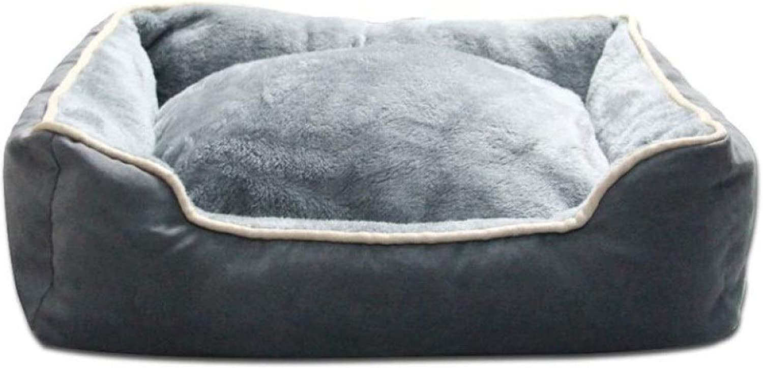 Dog Bed Pet Nest Pad Thick Warm And Biteresistant Cat Supplies Four Seasons Universal Non Slip Cushion Pad (color   Grey, Size   XLarge)