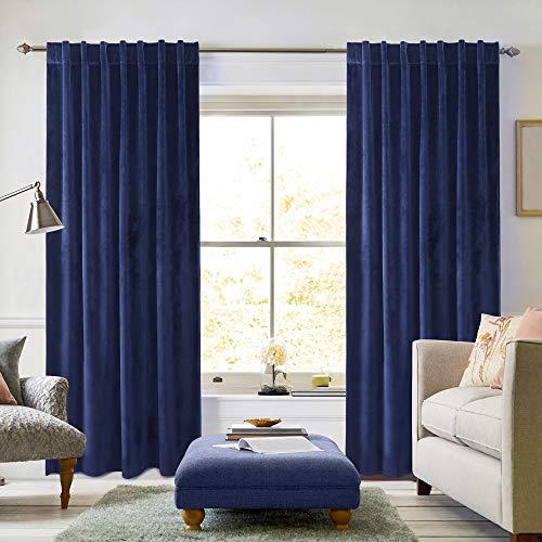 Velvet Curtains (Cobalt) - Set of 2 Window Panels, Room Darkening, Super Soft Luxury Velvet, Energy Efficient, 52W x 84L, Decorative Drapes, Back Tab/Rod Pocket