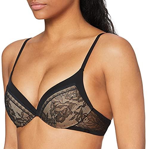 Preisvergleich Produktbild Calvin Klein Damen Plunge (Kissing Front) Push-up BH,  Schwarz (Black 001),  80D (Herstellergröße: 0D36)