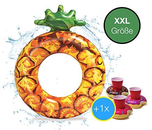 Aufblasbar Schwimmring Ø 120 cm Schwimmreif Ananas - Luftmatratze Schwimmbrett Schwimminsel für Pool, Wasser für Kinder und Erwachsene inkl. 1x Getränkehalter Cocktailhalter (Ananas)