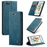 AKC Funda Compatible para iPhone 6/6s Carcasa con Flip Case Cover Cuero Magnético Plegable Carter Soporte Prueba de Golpes Caso-Azul