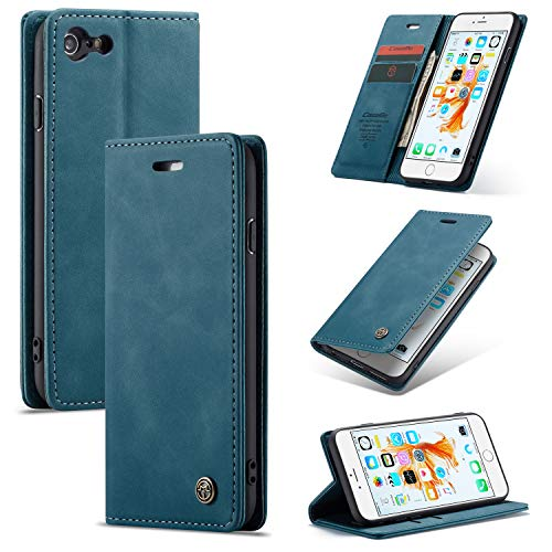 AKC Funda Compatible para iPhone 6 Plus Carcasa con Flip Case Cover Cuero Magnético Plegable Carter Soporte Prueba de Golpes Caso-Azul