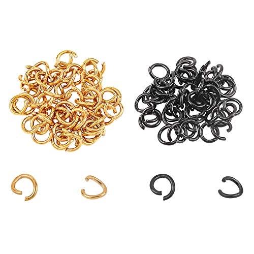 UNICRAFTALE about 100pcs 2 Colors 9mm Open Jumps Rings Stainless Steel Rings Connectors Gunmetal and Golden O Rings for DIY Bracelet Necklaces Jewelry Craft Making