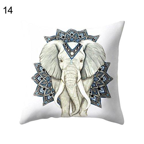 Amesii - Funda de cojín con estampado de elefantes de dibujos animados, piel de melocotón, decoración del hogar