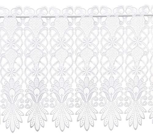 Bistrogardine CountryStyle 40 cm hoch x 80 cm breit weiß Spitze Landhausstil