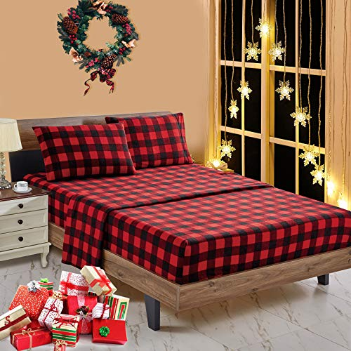 softan Polar Fleece Bed Sheet Set, Super Soft Plush Microfiber 4 Pcs, Easy Care and Breathable Bed Sheets with 15' Deep Pocket for All Seasons, Red Plaid, Queen