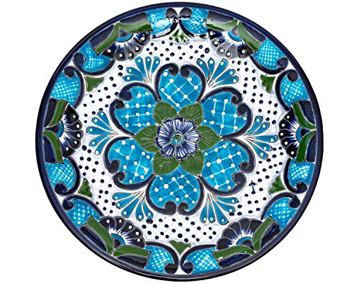 Enchanted Talavera Pottery Hand Painted Ceramic Large Serving Platter Dish Tray Food Mexican Floral Pattern Turquoise White