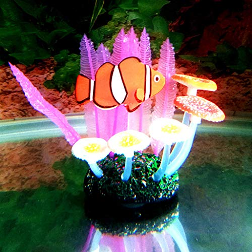 Storage Bag Aquarium Landscaping Ornament, Artificial Fish Tank Plants Silicone Soft Fern Leaf Clown Fish,Color Optional
