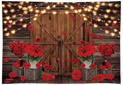 Allenjoy Telón de fondo de tela duradera para el día de San Valentín para fotografía, rosas rojas, flores de madera rústica, fondo de fiesta, decoración de boda, cartel de estudio de fotos