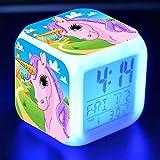 Precioso Unicornio Pegatina Led Reloj Despertador De Escritorio Luz De Flash Colorida Unicornios Figura Juguetes Para NiñOs Proveedor De Fiesta N7