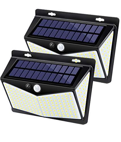 Upgrade 208-LEDS Solar Lights Outdoor, IKSTAR Motion Sensor Light Outdoor Solar Powered with 270°Wide Angle, IP65 Waterproof, 3 Sensor Modes, Portable Security Light for Yard, Garden, Steps - 2Pack