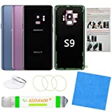 Galaxy S9 Back Cover Glass Replacement with Pre-Installed Camera Lens + All The Adhesive + Installation Manual + Repair Tool Kit for Samsung Galaxy S9 SM-G960 All Carriers (Midnight Black)