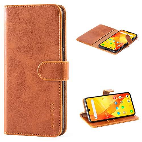 Mulbess Handyhülle für Xiaomi Mi 9 SE Hülle Leder, Xiaomi Mi 9 SE Handy Hüllen, Vintage Flip Handytasche Schutzhülle für Xiaomi Mi 9 SE Hülle, Braun